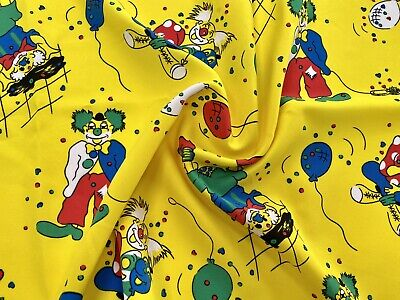 Circus Clowns And Balloons Printed Woven Dress Fabric, Per Metre • 5.99£
