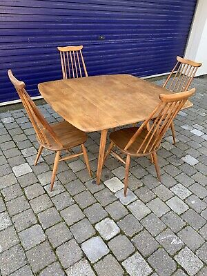 Ercol Dining Table And 4 Goldsmith Chairs Elm Dropleaf Drop Leaf Extending Ash • 495£