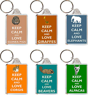 Various Keep Calm & Love Animals - Double Sided Large Keyring Fun Gift/Present • 2.09£