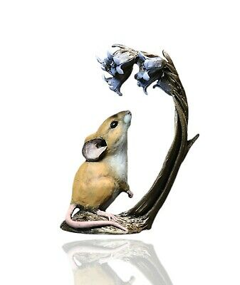 Mice Cold Cast Bronze Mouse With Bluebells - Hand Painted - Michael Simpson. • 38.99£