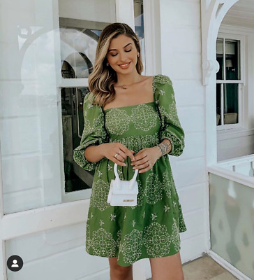 $79 • Buy NWT_ ZARA SS20 OPENWORK EMBROIDERED DRESS PUFF SLEEVES Green7521/103