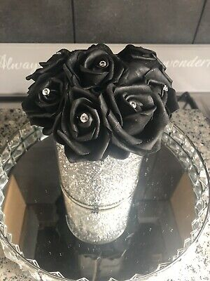 Silver Mirrored Crushed Diamond Vase With Flower & Diamantes Black & Glitter • 26£