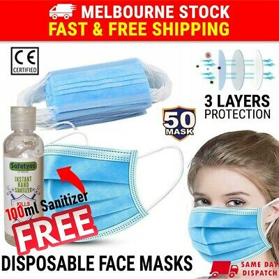 AU11.81 • Buy Face Mask 3 Layer Protective Mouth Masks Anti Bacterial Filter Respirator 50PCS