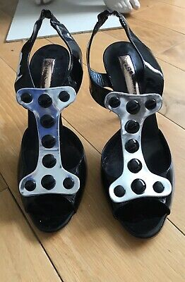 New Rupert Sanderson Black With Silver Placket High Heeled Sandals 39/6 • 140£