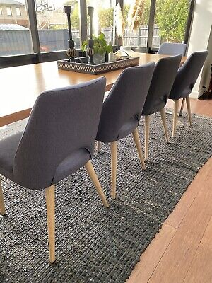 AU200 • Buy 5 X Grey Upholstered Dining Chairs With Solid Oak Legs