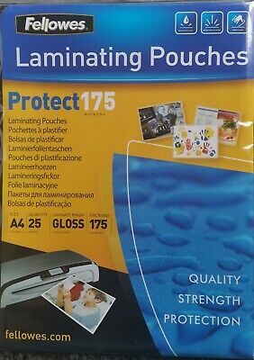 25 X Fellowes Protect 175 Laminating Pouches A4 Gloss High Sheen Finish • 2.52£