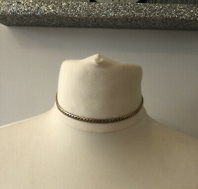 80s Style Gold Tone Curb Chain Choker Necklace Statement Power Dress Runway(1i) • 6£
