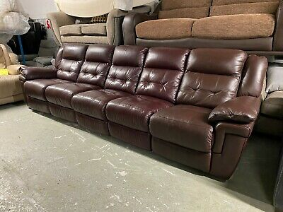 Lazy Boy Augustine Long Five Seater Sofa Dark Brown Leather Recliner Red Maroon • 599£