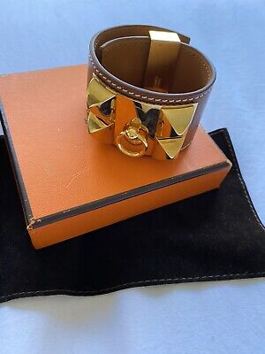 AU600 • Buy Hermes Collier De Chien Leather Bracelet Size Medium, Brown With Packaging