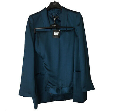 Womens Next Tailored Teal Satin Suit Size 18 R Jacket And Trousers Work Formal • 89.99£