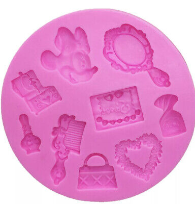 Silicone Hair Brush And Fancy Mirror Minnie Mouse Mould For Cake Decorating • 3.50£
