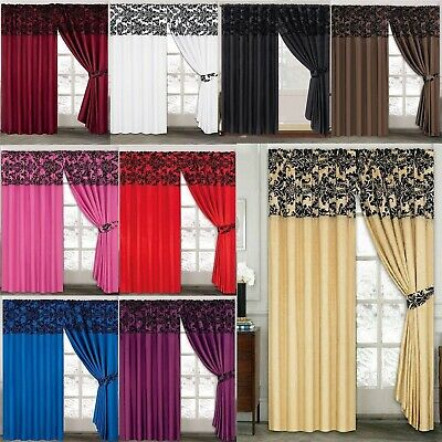 Half Flock Damask Ring Top Ready Made Curtains 66x72 & 90x90 • 24.99£