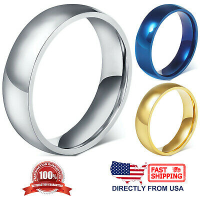 $6.97 • Buy Stainless Steel Wedding Band 6mm Polished Comfort Fit Men's & Women's Ring