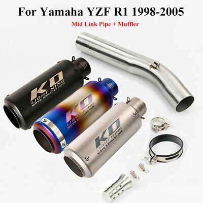 $89.77 • Buy Slip-on Motorcycle Exhaust Muffler Tip Mid Link Pipe For Yamaha YZF R6 1998-2005