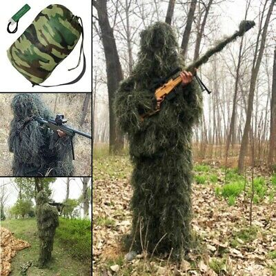 UK 5Pcs Ghillie Suit Hunting Archery Sniper Wrap Bag Paintball Camo Adult Gilly • 36.22£