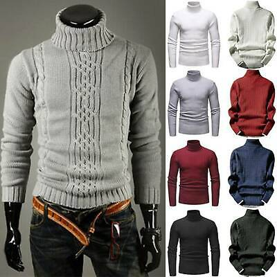 Winter Mens Warm Knitted Sweater Polo Roll Turtle Neck Pullover Jumper Slim Tops • 14.49£