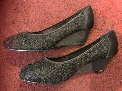 Ladies Womens Lace Shoes Wedge Ballet Pumps Evening  Low Heel BLACK Size 4 • 8.50£