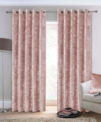£30.99 • Buy Crushed Velvet Curtains Luxury Pair Ready Fully Lined Eyelet Ring Top Blush Pink