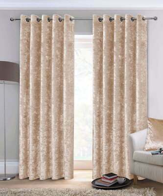 Ausumm Crushed Velvet Curtains Pair Ready Fully Lined  Eyelet Ring Top Champagne • 18.99£