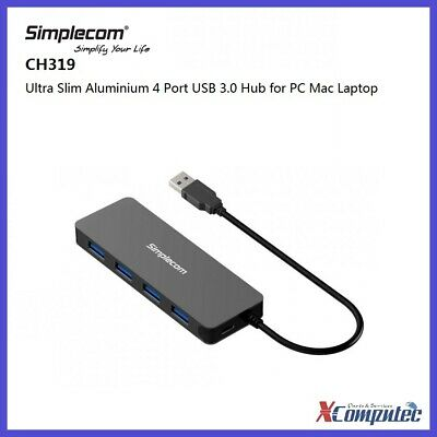 AU25 • Buy Simplecom CH319 Ultra Slim Aluminium 4 Port USB 3.0 Hub For PC Mac Laptop Black
