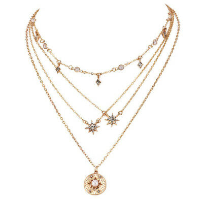 AU5.82 • Buy Fashion Multilayer Choker Necklace For Women Crystal Star Round Chain Jewelry LI