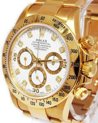 $ CDN38046.06 • Buy Rolex Daytona 18k Gold Diamond Dial Chronograph Watch & Box Set W 16528