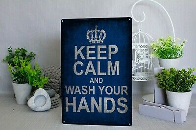 Keep Calm And Wash Your Hands Metal Sign Wall Plaque • 7.49£