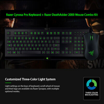 AU96.89 • Buy New Razer Cynosa Pro Keyboard + Razer DeathAdder 2000 Mouse Combo Backlight F9D8