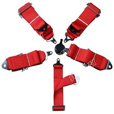 Racing Seat Harness Belt Quick Release 3  Inch 4 5 Point Eye Bolts (Red) • 37.87£