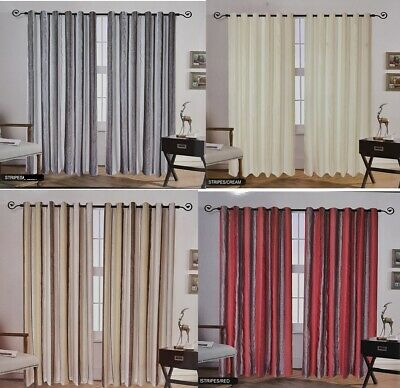 Stripes Ring Top Fully Lined Pair Curtains Ready To Hang 66x72 & 90x90 • 22.99£