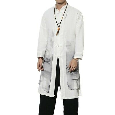 $78.20 • Buy Mens Chinese Style Trench Coat Gown Jacket 2-in-1 Outwear Long Sleeve Leisure L