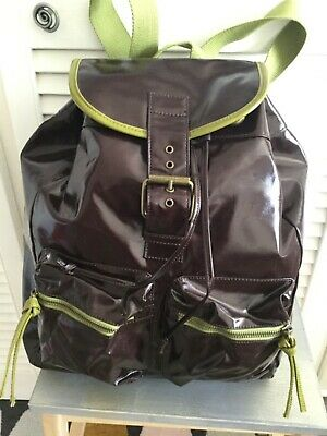 NEW BODEN OILCLOTH BAG Backpack Rucksack Brown With Green Trim • 39£