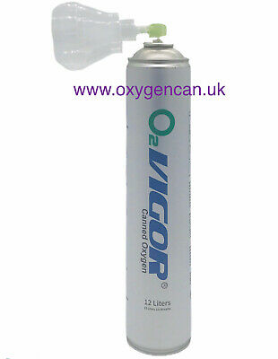 PURE OXYGEN CAN 12 L 99.5% - With A Hygienic Cover Cap : Open & Attach As A Mask • 11.99£