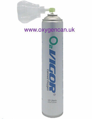 2x PURE OXYGEN CAN 12 L 99.5% -with A Hygienic Cover Cap-Open & Attach As A Mask • 22.99£
