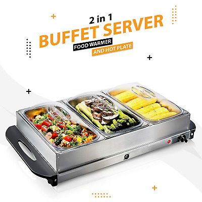 2.5l- Electric Food Warmer Buffet Server Adjustable Temperature Hotplate Tray • 27.99£