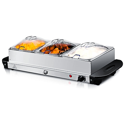 3 X 2.5l Electric Buffet Server Adjustable Temperature Food Warmer Hotplate Tray • 27.89£