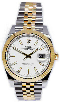 $ CDN16953.86 • Buy Rolex Datejust 41 18k Yellow Gold/Steel White Dial Mens Watch Box/Papers 126333