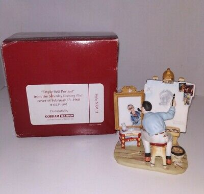 $ CDN77.84 • Buy 1982 Norman Rockwell's  Triple Self Portrait  Figurine Ceramic Gorham 1960