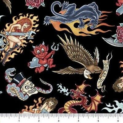 $4.95 • Buy EASY RIDER MOTORCYCLE TATTOOS Fabric GIRLS DICE SKULL FIRE BLACK 100% Cotton NEW