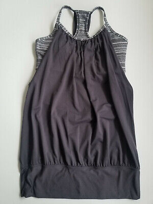 $ CDN35 • Buy Lululemon No Limits Tank Top Coal Strata Stripe Grey White Pads Size 4