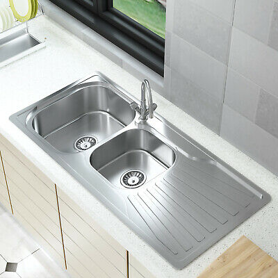 Stainless Steel Home Kitchen Sink Catering Single Double Bowl Drainer Kit • 59.88£