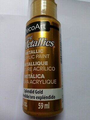 Splendid Gold Dazzling Metallic Acrylic Paint By DecoArt Size 59ml 2fl.oz • 3£
