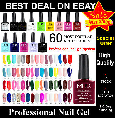 Nail Gel Polish Sets MND Soak Off UV LED ColourS Base Top Coat Nail Varnish UK  • 3.50£