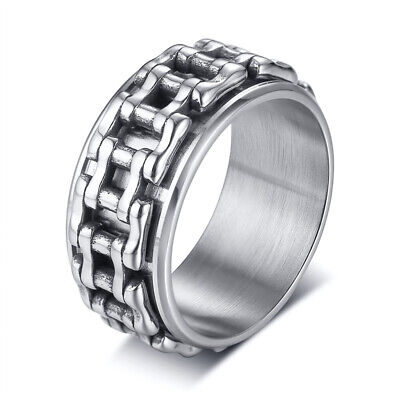 Men Ring Spinning Stress Relief Bicycle Link Chain Band Stainless Steel Hip Hop • 5.57£