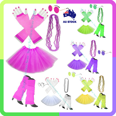 AU29.75 • Buy Neon Party 80s Tutu Colour Fishnet Gloves Leg Warmers Necklace Dancing Costumes