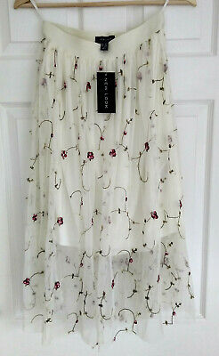 BNWT New Look Midi Net Skirt Cream/WhiteEmbroidered Floral Size 14 • 8£