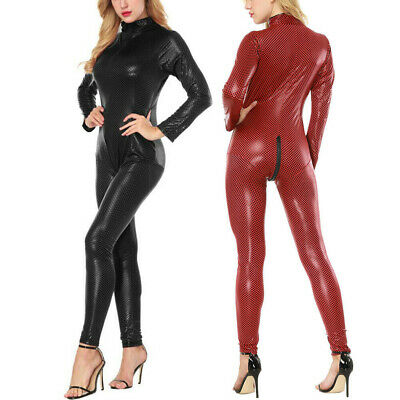 £18.69 • Buy Sexy Womens Leather Bodycon Bodysuit Catsuit Jumpsuit Lingerie High Elasticity