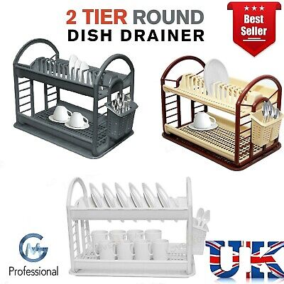 2 Tier Dish Drainer Rack Storage Drip Tray Sink Drying Draining Plate Bowl Spoon • 11.96£