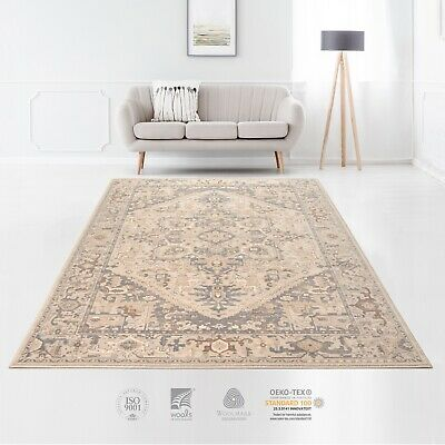 Premium Quality Afghan Vintage Style 100% Wool Traditional Beige Blue Area Rugs • 348.30£