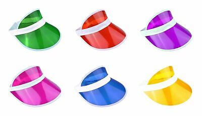 PK OF 6 NEON GOLF, SUN VISOR PUB GOLF 80s, DISCO, POKER, HEN, STAG, FANCY DRESS • 9.85£